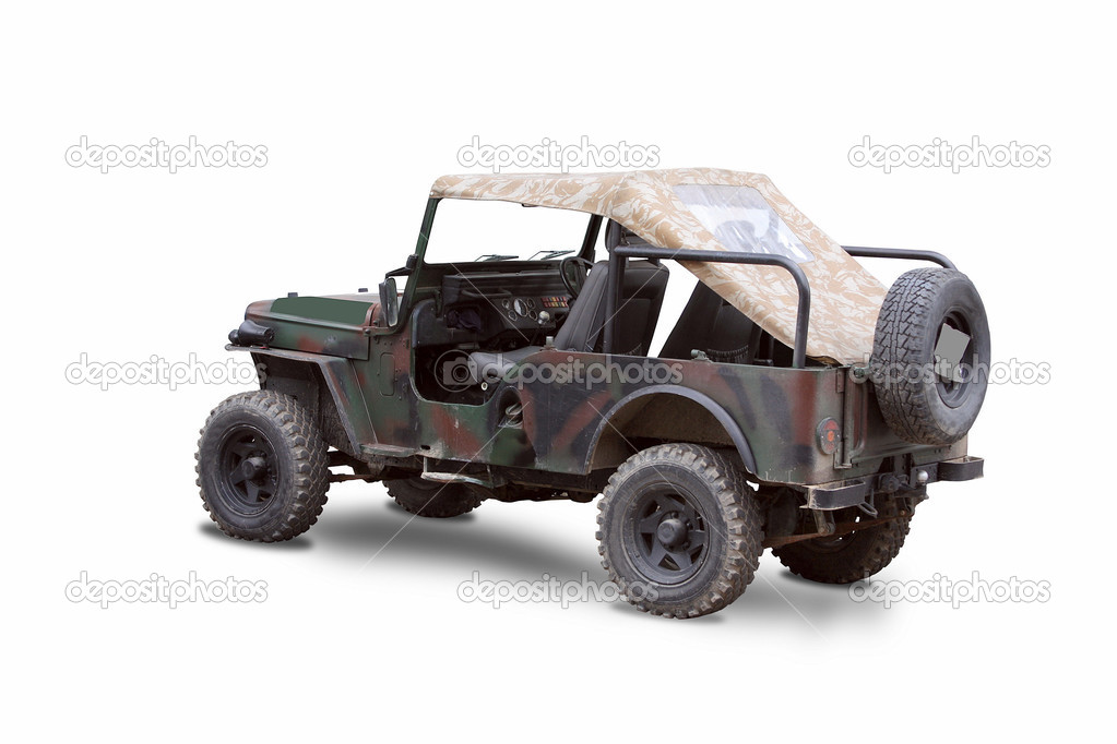 Old Soviet military jeep, isolated in white — Stock Photo #3899195