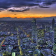 HDR-sunset over Frankfurt - Stock Photo