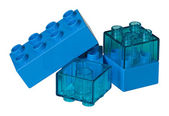 Toy bricks in different kinds of blue — Stock Photo