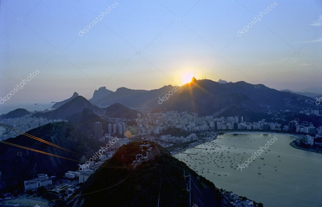 A beautiful sunset over Rio de Janeiro seen from the sugarloaf mountain  Stock Photo #3116343