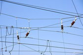 Overhead contact wires — Stock Photo