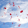Red balloons flying to the sky — Stock Photo #3651150