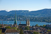 View over Zurich with the alps — Stock Photo