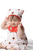 Baby closing her eyes tight — Stock Photo