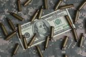 Money and shells — Stock Photo