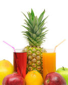 Glass with juice and fruits — Stock Photo