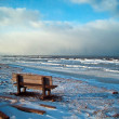 Wintery seaside bench — Stock Photo
