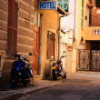 Stock Photo: Motorbikes in Alley
