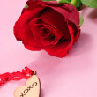 Stock Photo: Anniversary Rose and Heart