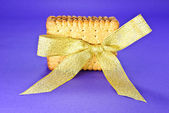 Wafer Cookies in a Bow — Stock Photo