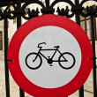 Bicycle Sign on Fence — Stock Photo