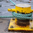 Yellow Mooring Anchor Bollard — Stock Photo