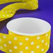 Yellow Polka Dot Ribbon — Stock Photo