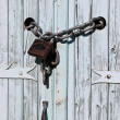 Chain locked Wooden Door — Stock Photo