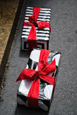 Street Shop Gift Boxes — Stock Photo