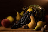 Assortment of several autumn fruits — Stock Photo