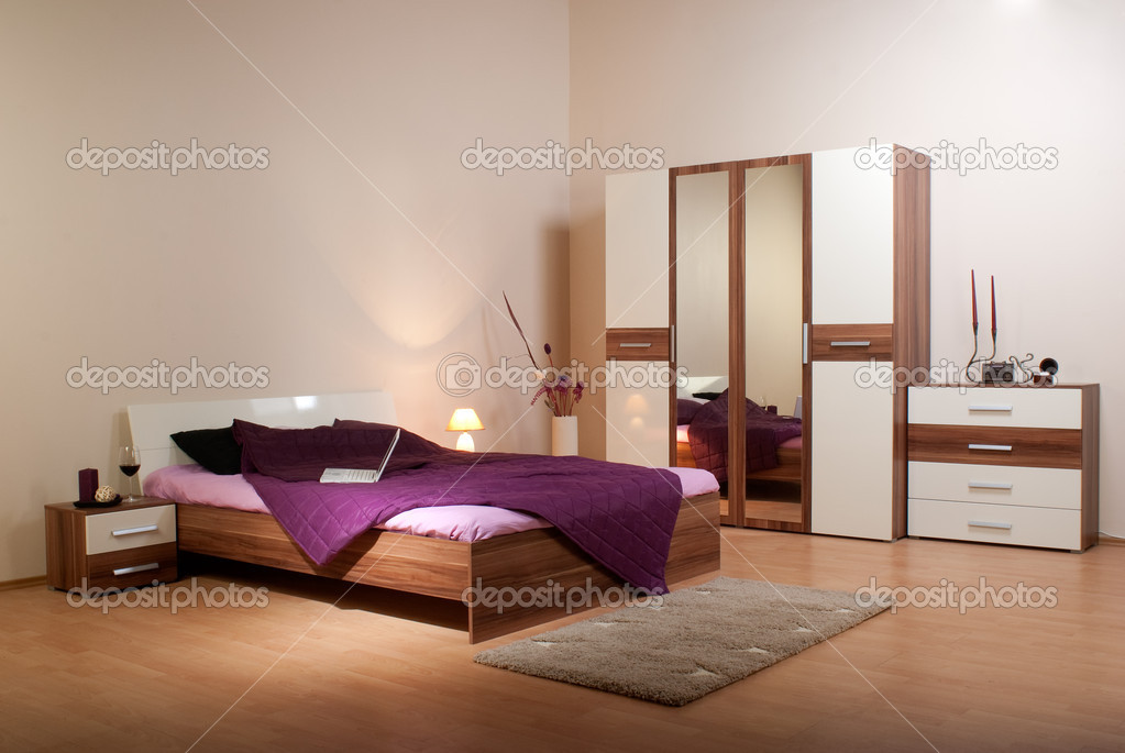 Bedroom interior showcase including bed, wardrobe, bedside table commodes, linen-press  — 图库照片 #3501711