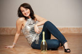 GIRL WITH CHAMPAGNE BOTTLE — Stock Photo