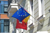 Flags of the City of Moscow, Germany and the European Union in the wind. — Stock Photo