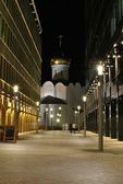 Modern office buildings and an old Orthodox church in Moscow at night. — Stock Photo