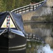 Narrow boat on grand union canal — Stock Photo