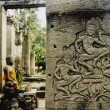 Angkor wat asparas wall carvings — Stock Photo