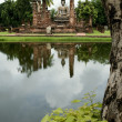Seated buddha sukothai thailand — Stock Photo