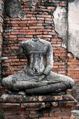 Ayuthaya buddha wall — Stock Photo