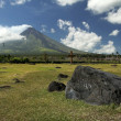 Stock Photo: Mayon volcano church ruins