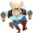 Cowboy with revolvers - Stock Vector