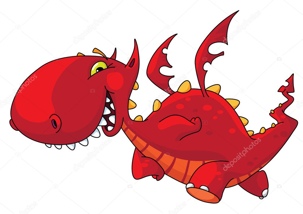 An illustration of a funny red dragon — Stock Vector #3112028