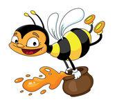 Bee flying — Stock Vector