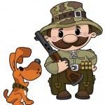 Hunter and dog — Stock Vector