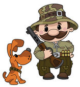 Hunter and dog — Stock Vector