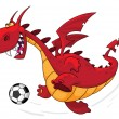 Dragon footballer — Stock Vector