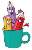 Lápices en una taza — Vector de stock