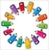 Circle pencils — Stock Vector