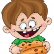 Stock Vector: Boy with pie
