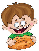 Boy with a pie — Stock Vector