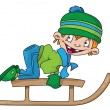 Stock Vector: Boy on a snow sled