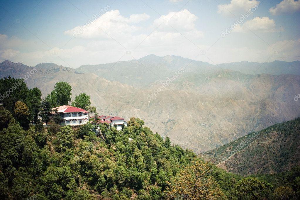 Big House On The Mountain In Himalaya Stock Photo