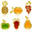 Stock Vector: Set from gold fruit