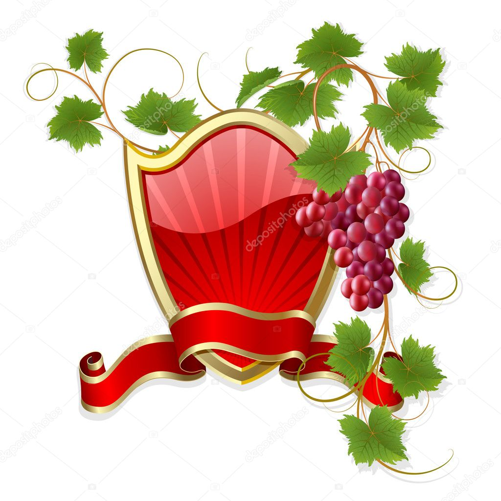 Gold-framed label with claret vine and red ribbon  Stock Vector #3567500