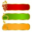 Set from gold frames — Stock Vector