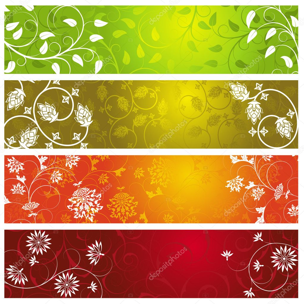 A set of four  summer banners — Stock Vector #3721622