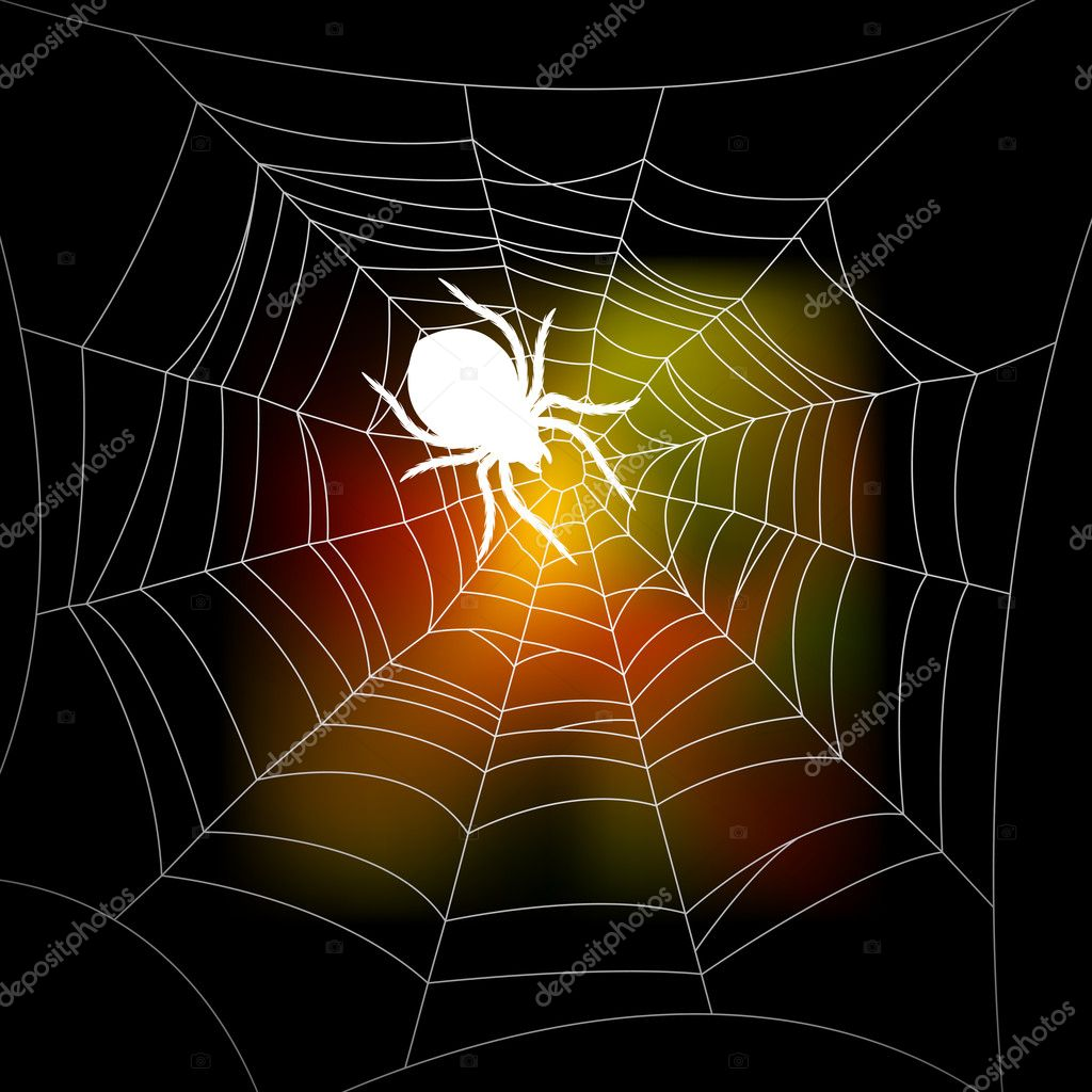 Autumn background with a spider's web — Stock Vector #3772209