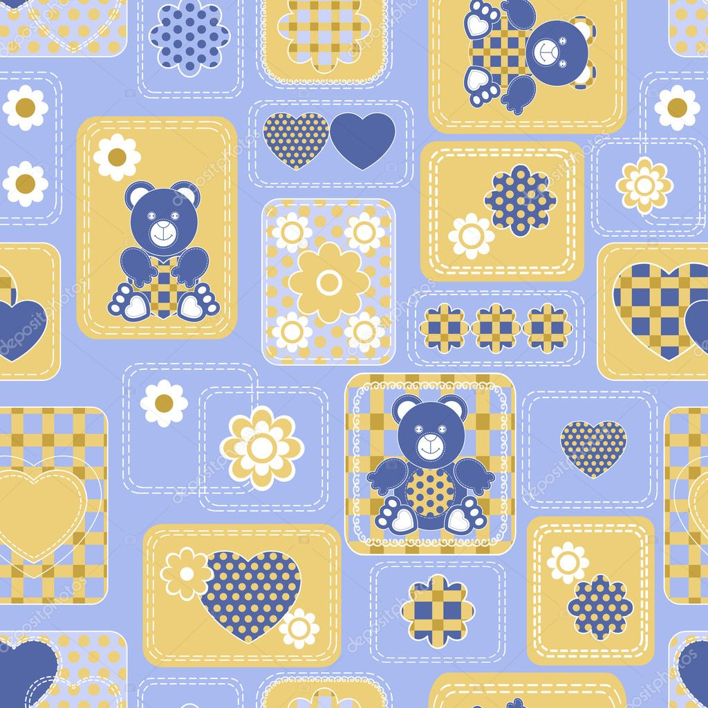 Seamless from hearts and bears(can be repeated and scaled in any size) — Stock vektor #3850203