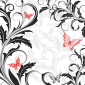 Background with flowers and butterflies — Stock Vector