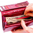 Dollars and red wallet — Stock Photo