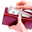 Hand and one dollar — Stock Photo
